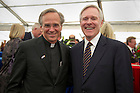 September 1, 2012; Rev. John I. Jenkins, C.S.C., with Ray Mabus, Secretary of the Navy, during a reception aboard the Ft. McHenry Ship prior to the Emerald Isle Classic against Navy in Dublin, Ireland. Photo by Barbara Johnston/University of Notre Dame