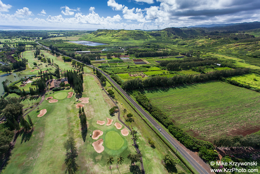 Aerial view of the Fazio Golf Course at Turtle Bay Resort, North Shore, Oahu