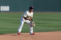 Visalia Rawhide shortstop Jancarlos Cintron (3) during a California League game against the Rancho Cucamonga Quakes on April 9, 2019 in Visalia, California. Visalia defeated Rancho Cucamonga 8-5. (Zachary Lucy/Four Seam Images)