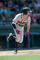 Shortstop Braden Shewmake (39) of the Rome Braves, an Atlanta Braves' First-Round pick in the 2019 MLB Draft, runs out a batted ball in a game against the Greenville Drive on Sunday, June 30, 2019, at Fluor Field at the West End in Greenville, South Carolina. Rome won, 6-3. (Tom Priddy/Four Seam Images)