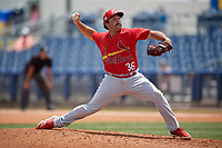 Palm Beach Cardinals relief pitcher C.J. Saylor (36) during a Florida State League game against the Charlotte Stone Crabs on April 14, 2019 at Charlotte Sports Park in Port Charlotte, Florida.  Palm Beach defeated Charlotte 5-3.  (Mike Janes/Four Seam Images)