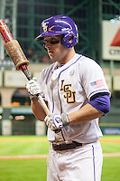 LSU Tigers shortstop Alex Bregman (8) on deck during the NCAA baseball game against the Houston Cougars on March 6, 2015 at Minute Maid Park in Houston, Texas. LSU defeated Houston 4-2. (Andrew Woolley/Four Seam Images)