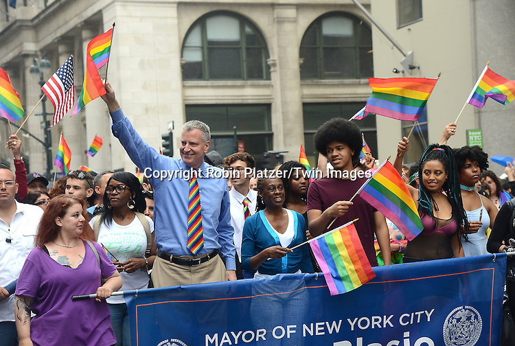 Mayor Bill de Blasio and wife Chirlane McCray, Dante and Chiara de Blasio attend the 2015 NYC Pride March on June 28, 2015 on Fifth Avenue in New York City. <br /> <br /> photo by Robin Platzer/Twin Images<br />  <br /> phone number 212-935-0770