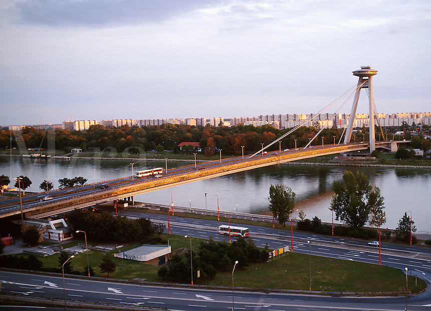 Formerly known as the bridge of the Slovak National Uprising (SNP most), this single tower open suspension bridge spanning the Danube was renamed New Bridge (Novy most) following the fall of socialism. Another symbol of the socialist era is the Petra azal