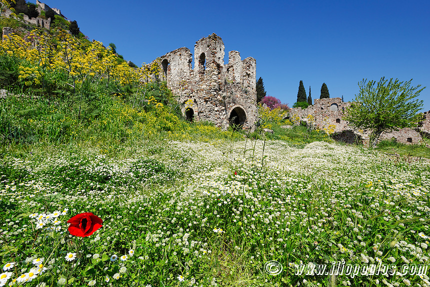 The Byzantine castle city of Mystras, Greece