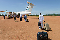 CHAD, Goz Beida, airport, aircraft of WFP world food programme a UN organization