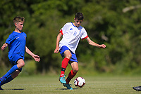 Action from the 2019 New Zealand Age Group Tournament Under-14 Boys football match between Auckland and Southern (blue) at Memorial Park in Petone, Wellington, New Zealand on Thursday, 11 December 2019. Photo: Dave Lintott / lintottphoto.co.nz