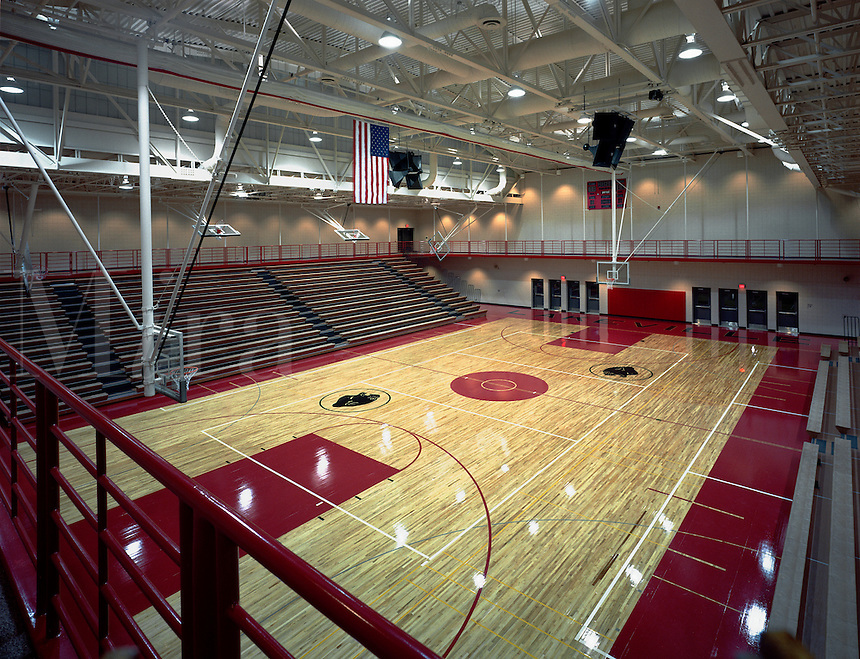 Overhead view of an interior basketball court.