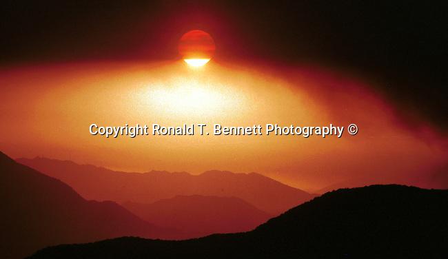 Smoke from fire in San Bernardino Mountains California, California Fine Art Photography by Ron Bennett,