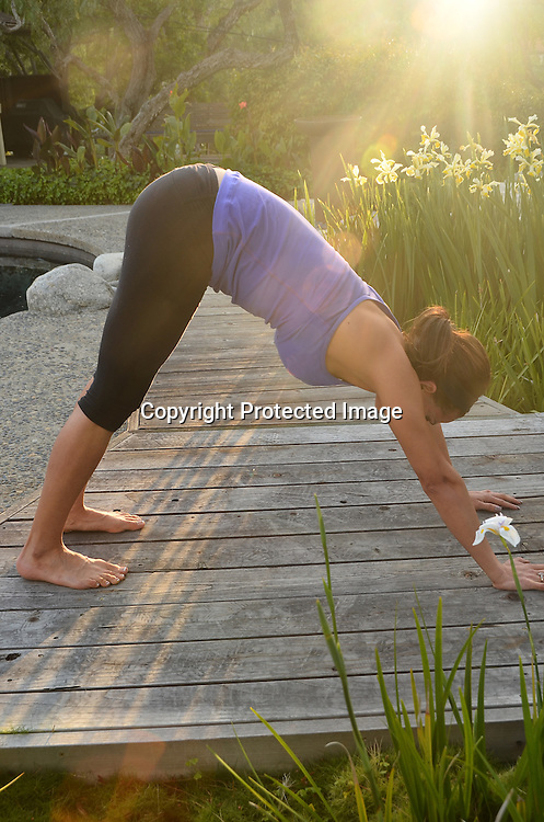 Stock Photos of a young Hispanic woman doing yoga