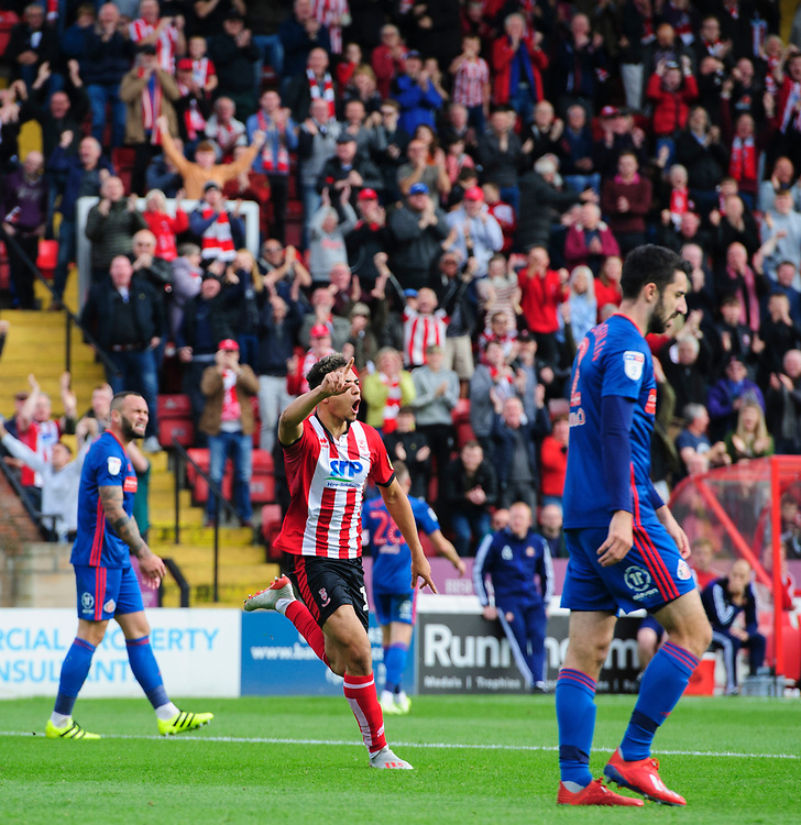 Lincoln City's Tyler Walker celebrates scoring the opening goal<br /> <br /> Photographer Chris Vaughan/CameraSport<br /> <br /> The EFL Sky Bet League One - Lincoln City v Sunderland - Saturday 5th October 2019 - Sincil Bank - Lincoln<br /> <br /> World Copyright © 2019 CameraSport. All rights reserved. 43 Linden Ave. Countesthorpe. Leicester. England. LE8 5PG - Tel: +44 (0) 116 277 4147 - admin@camerasport.com - www.camerasport.com