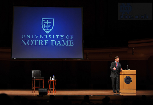 Feb. 24, 2011; Former U.S. Senator and Indiana Governor Evan Bayh answers questions at the Leighton Concert Hall as part of the 2010-2011 Notre Dame Forum...Photo by Matt Cashore/University of Notre Dame