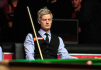 Neil Robertson ponders over his missed shot during the Dafabet Masters Quarter Final 2 match between Judd Trump and Neil Robertson at Alexandra Palace, London, England on 15 January 2016. Photo by Liam Smith / PRiME Media Images.