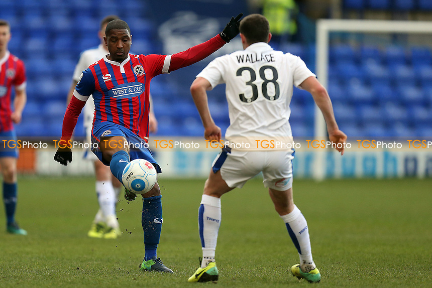 Andre Boucaud of Dagenham and James Wallace of Tranmere Rovers during Tranmere Rovers vs Dagenham & Redbridge, Vanarama National League Football at Prenton Park on 28th January 2017