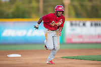 Magneuris Sierra (37) of the Johnson City Cardinals hustles towards third base against the Burlington Royals at Burlington Athletic Park on August 22, 2015 in Burlington, North Carolina.  The Cardinals defeated the Royals 9-3. (Brian Westerholt/Four Seam Images)