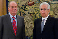 02.08.2012. Juan Carlos of Spain attends the audience with Mr. Mario Monti, President of the Council of Ministers of Italy, at the Palacio de la Zarzuela in Madrid. In the image King Juan Carlos I and Mario Monti (Alterphotos/Marta Gonzalez) /NortePhoto.com<br />