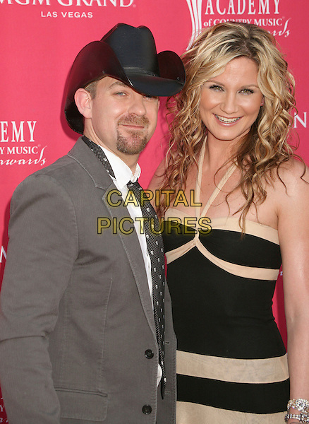 KRISTIAN BUSH & JENNIFER NETTLES - SUGARLAND .42nd Annual Academy Of Country Music Awards held at the MGM Grand Garden Arena, Las Vegas, Nevada, USA..May 15th, 2007.half length black cream striped halterneck dress grey gray suit jacket hat stetson goatee facial hair .CAP/ADM/BP.©Byron Purvis/AdMedia/Capital Pictures