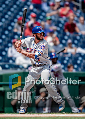 1 August 2018: New York Mets infielder Amed Rosario at bat against the Washington Nationals at Nationals Park in Washington, DC. The Nationals defeated the Mets 5-3 to sweep the 2-game weekday series. Mandatory Credit: Ed Wolfstein Photo *** RAW (NEF) Image File Available ***
