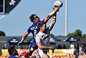 3rd February 2019, Spotless Stadium, Sydney, Australia; HSBC Sydney Rugby Sevens; England versus USA Mens semi final; Ben Pinkelman of the United States of America contests the lineout with Harry Glover of England