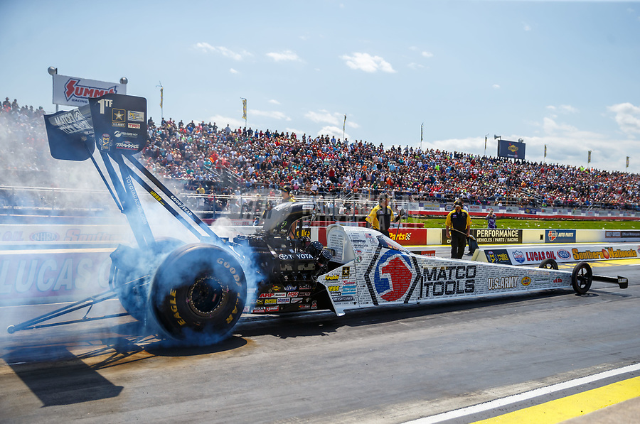 May 6, 2017; Commerce, GA, USA; NHRA top fuel driver Antron Brown during qualifying for the Southern Nationals at Atlanta Dragway. Mandatory Credit: Mark J. Rebilas-USA TODAY Sports