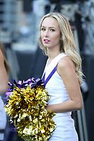 SEATTLE, WA - OCTOBER 28:  Washington cheerleader Veronica Stulz entertained fans during the game against UCLA on October 28, 2017 at Husky Stadium in Seattle, WA. Washington won 44-23 over UCLA.