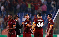 Calcio, Champions League, Gruppo E: Roma vs CSKA Mosca. Roma, stadio Olimpico, 17 settembre 2014.<br /> Roma coach Rudi Garcia, of France, second from left, congratulates with his players, from left, Seydou Keita, Francesco Totti, Kostas Manolas and Miralem Pjanic at the end of the Group E Champions League football match between AS Roma and CSKA Moskva at Rome's Olympic stadium, 17 September 2014. AS Roma won 5-1.<br /> UPDATE IMAGES PRESS/Isabella Bonotto