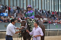 HOT SPRINGS, AR - APRIL 14: Magnum Moon #6, with jockey Luis Saez aboard after winning the Arkansas Derby at Oaklawn Park on April 14, 2018 in Hot Springs, Arkansas. (Photo by Justin Manning/Eclipse Sportswire/Getty Images)