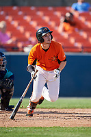 Frederick Keys second baseman Preston Palmeiro (7) follows through on a swing during the first game of a doubleheader against the Lynchburg Hillcats on June 12, 2018 at Nymeo Field at Harry Grove Stadium in Frederick, Maryland.  Frederick defeated Lynchburg 2-1.  (Mike Janes/Four Seam Images)