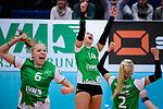 03.12.2017, Halle Berg Fidel, Muenster<br />Volleyball, Bundesliga Frauen, Normalrunde, USC MŸnster / Muenster vs. Rote Raben Vilsbiburg<br /><br />Jubel Roosa Laakkonen (#6 Muenster), Lena Vedder (#14 Muenster), Mareike Hindriksen (#2 Muenster)<br /><br />  Foto &copy; nordphoto / Kurth
