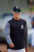 Connecticut Tigers pitcher Carlos Guzman (40) walks to the dugout before a game against the Hudson Valley Renegades on August 20, 2018 at Dodd Stadium in Norwich, Connecticut.  Hudson Valley defeated Connecticut 3-1.  (Mike Janes/Four Seam Images)