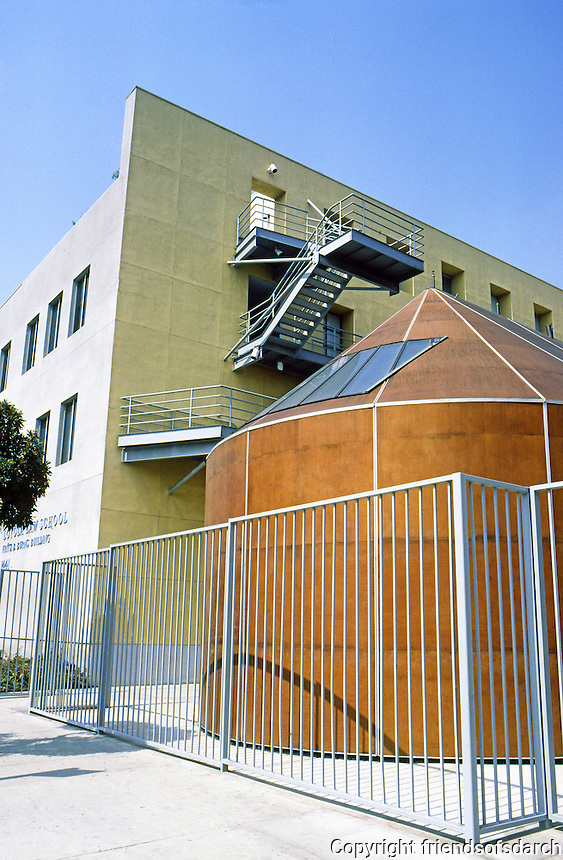 Frank Gehry: Loyola Law School, Main Building and Chapel from Olympic. Los Angeles.  Photo '86.