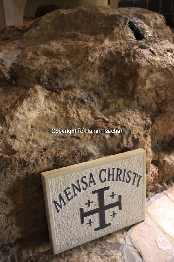 Israel, Sea of Galilee, the Mensa Christi rock at the Church of St Peter's Primacy