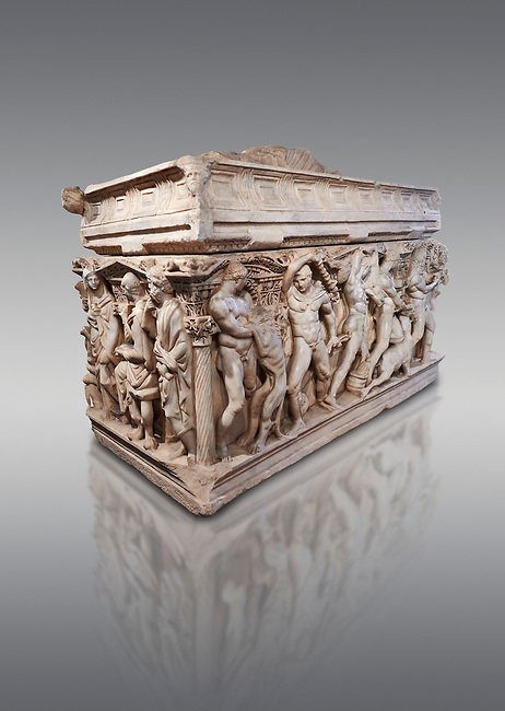"Roman relief sculpted Hercules sarcophagus with kline couch lid, ""Columned Sarcophagi of Asia Minor"" style typical of Sidamara, 250-260 AD, Konya Archaeological Museum, Turkey. Against a grey background"