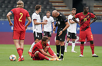 Referee Michael Fabbri checks with Belgium's  Zinho Verheusden (3) if he is OK to get up during a soccer game between the national teams Under21 Youth teams of Belgium and Germany on the 5th matday in group 9 for the qualification for the Under 21 EURO 2021 , on tuesday 8 th of September 2020  in Leuven , Belgium . PHOTO SPORTPIX.BE | SPP | SEVIL OKTEM