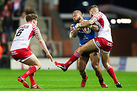 Picture by Alex Whitehead/SWpix.com - 11/05/2018 - Rugby League - Ladbrokes Challenge Cup - Leigh Centurions v Salford Red Devils - Leigh Sports Village, Leigh, England - Salford's Junior Sa'u is tackled by Leigh's Ben Crooks.