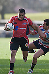 Lelia Masaga tries not to be dragged over the sideline.  Air New Zealand Air NZ Cup warm-up rugby game between the Counties Manukau Steelers & Tasman Mako's, played at Growers Stadium Pukekohe on Sunday July 20th 2008..Counties Manukau won the match 30 - 7.
