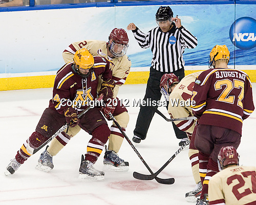 Zach Budish (Minnesota - 24), Brian Dumoulin (BC - 2), Glenn Cooke, Michael Sit (BC - 18), Nick Bjugstad (Minnesota - 27) - The Boston College Eagles defeated the University of Minnesota Golden Gophers 6-1 in their 2012 Frozen Four semi-final on Thursday, April 5, 2012, at the Tampa Bay Times Forum in Tampa, Florida.