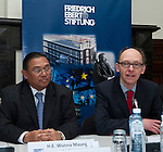 Brussels - Belgium, February 06, 2013; .'EU-Myanmar working together '- an Experts' Roundtable held by FES (Friedrich-Ebert-Stiftung); with i.a. Wunna Maung Lwin, Foreign Minister of Myanmar (le); Jürgen Stetten, Head of Department Asia and the Pacific, Friedrich-Ebert-Stiftung Berlin (ri); .Photo: © HorstWagner.eu / FES