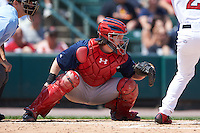 Pawtucket Red Sox catcher Ryan Hanigan (35) during a game against the Rochester Red Wings on June 29, 2016 at Frontier Field in Rochester, New York.  Pawtucket defeated Rochester 3-2.  (Mike Janes/Four Seam Images)