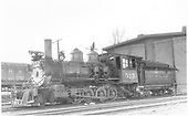 3/4 fireman's-side view of D&amp;RGW #315 in front of Montrose engine house.<br /> D&amp;RGW  Montrose, CO  Taken by Perry, Otto C. - 2/23/1940