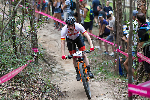 12th April 2018, Nerang Mountain Bike Trails, Gold Coast, Australia; Commonwealth Games day 8; Nicholas Corlett (IOM) during the Men's Cross-country Mountain Bike Race