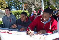 SAN FRANCISCO, CA - April 14, 2012: Stanford Mens Basketball team at the Stanford Cardinal and White Spring Game at Kezar Stadium in San Francisco, CA.