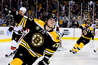 Tuesday, March 21, 2017: Boston Bruins defenseman Torey Krug (47) celebrates his goal in the third period of the National Hockey League game between the Ottawa Senators and the Boston Bruins held at TD Garden, in Boston, Mass. Eric Canha/CSM