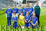 The Tiernaboul NS team that competed in the Killarney Garda Primary school football blitz in Fitzgerald Stadium on Monday front row l-r: Aidan Cronin, Danny Coffey, Jake Downing, Deimante Dowelaite. Back row: Sarah Mulligan, Kody Coffey, Cathal Kelly Emmet Spillane, David O'Sullivan and Conor Gleeson Principal