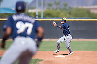 Milwaukee Brewers second baseman Yeison Coca (96) throws to first base during an Instructional League game against the San Diego Padres at Peoria Sports Complex on September 21, 2018 in Peoria, Arizona. (Zachary Lucy/Four Seam Images)