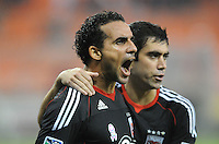 D.C. United forward Dwayne De Rosario (7) celebrates his score with teammate Austin Da Luz (3) in the 73th minute of the game. D.C. United tied The Portland Timbers 1-1at RFK Stadium, Wednesday October 19, 2011.