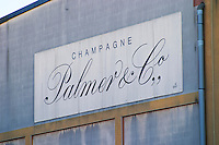 Sign on the wall at Champagne Palmer, a big cooperative co-operative, Reims, Champagne, Marne, Ardennes, France