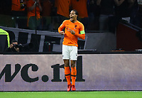 celebrate the goal, Torjubel zum 1:0 Virgil Van Dijk (Niederlande) - 13.10.2018: Niederlande vs. Deutschland, 3. Spieltag UEFA Nations League, Johann Cruijff Arena Amsterdam, DISCLAIMER: DFB regulations prohibit any use of photographs as image sequences and/or quasi-video.