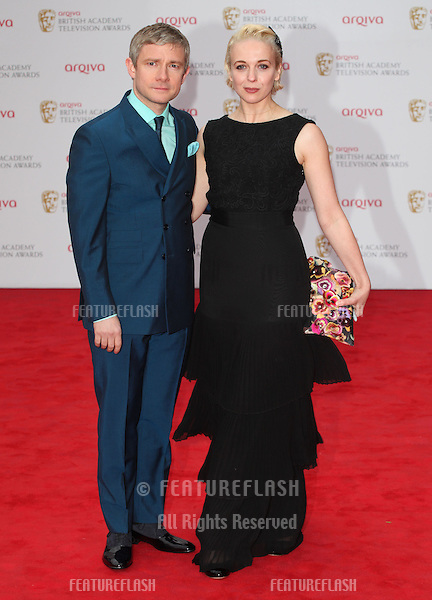 Martin Freeman and wife, Amanda Abbington arriving for the TV BAFTA Awards 2013, Royal Festival Hall, London. 12/05/2013 Picture by: Alexandra Glen / Featureflash