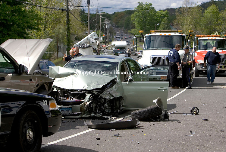 WOODBURY, CT- 22 MAY 2008- 052208JT01- <br /> Due to a head-on collision on Route 6 involving three vehicles, traffic in both lanes was backed up on Thursday afternoon in Woodbury.<br /> Josalee Thrift / Republican-American
